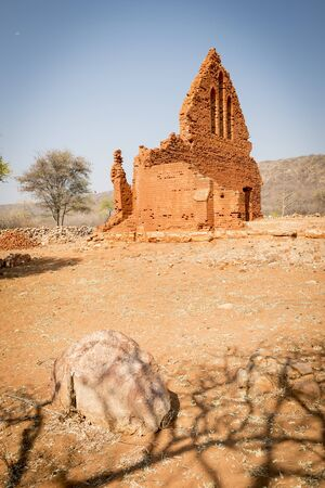 Old Palapye church ruins built from baked earth bricks in rural Botswana, Africa