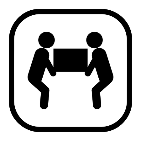 Illustration for Two person heavy lift symbol icon vector for packaging concept - Royalty Free Image