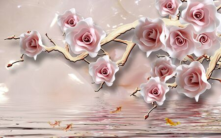 Photo pour 3d illustration, light background, light pink roses on a branch, reflection in water, goldfish - image libre de droit