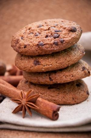 Cookies with chocolate closeup