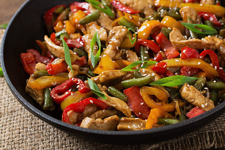 Stir fry chicken, sweet peppers and green beans