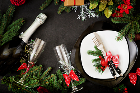 Photo pour Traditional dishware on Christmas table. Flat lay. Top view - image libre de droit