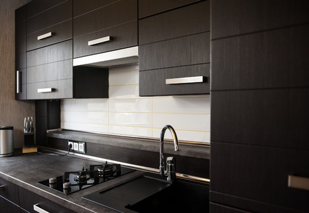beautiful brown kitchen in a modern style.