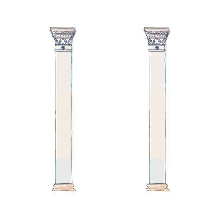 Stylized Greek doodle column Doric Ionic Corinthian columns vector illustration.