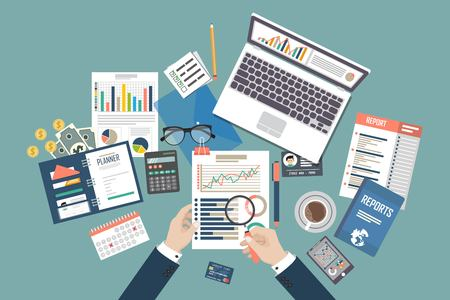 Illustration for Auditing concept vector illustration. Tax process. Business background. Flat design of analysis, data, accounting, planning, management, research, calculation, reporting, project management. - Royalty Free Image