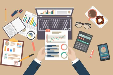 Illustration pour Auditing concept vector illustration. Tax process. Business background. Flat design of analysis, data, accounting, planning, management, research, calculation, reporting, project management. - image libre de droit