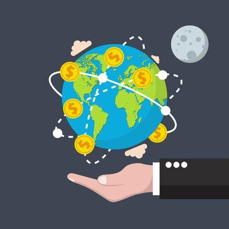 Illustration for Global economy concept. Vector illustration in flat design. - Royalty Free Image