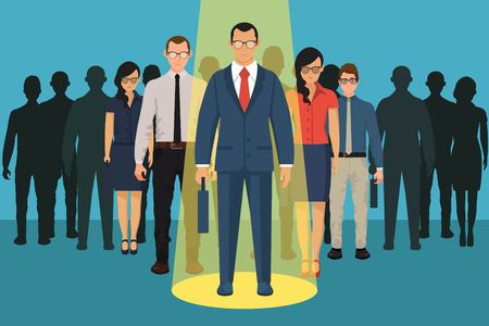 Illustration pour Chosing person for hiring. Vacant concept. Human and recruitment, select people, resource and recruit. Vector illustration in flat design. - image libre de droit