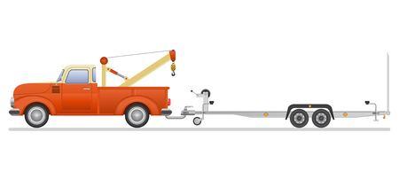 Illustration pour Vintage pickup and car trailer vector illustration isolated on white background - image libre de droit