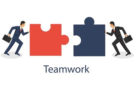 Illustration pour Business concept. Two businessmen conencting puzzle elements. Combining two pieces. Working togather, partenership, cooperation. Vector illustration in flat design. - image libre de droit