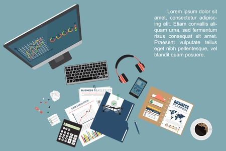 Illustration pour Auditing concept. Realistic design of accounting, research, calculating, management, financial analysis. Top view. Business background with desktop elements. - image libre de droit