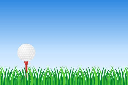 Illustration pour Golf ball on red tee on green grass vector illustration - image libre de droit