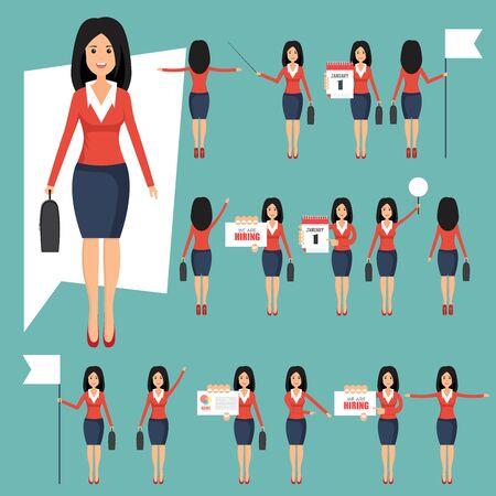 Photo pour Set of businesswomans in different positions vector illustration in flat design - image libre de droit