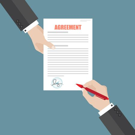 Illustration pour Businessman sign agreement paper document . A person signs a contract. Partnership, cooperation, agreement concept. - image libre de droit