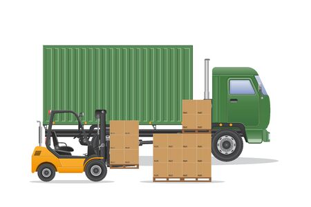 Photo pour Cargo truck delivery vector illustration. - image libre de droit