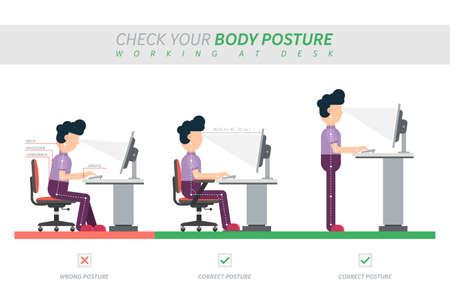Illustration pour Ergonomic posture of sitting at desk flat vector illustration - image libre de droit