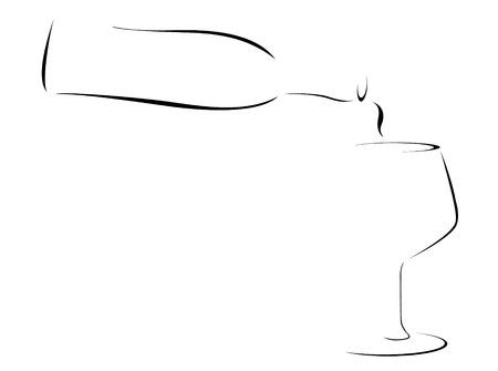 Illustration pour Abstract Illustration of a Wine bottle pouring into a glass - image libre de droit