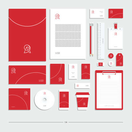 Illustration pour Abstract corporate identity with sign. Stationery set. Creative design. - image libre de droit