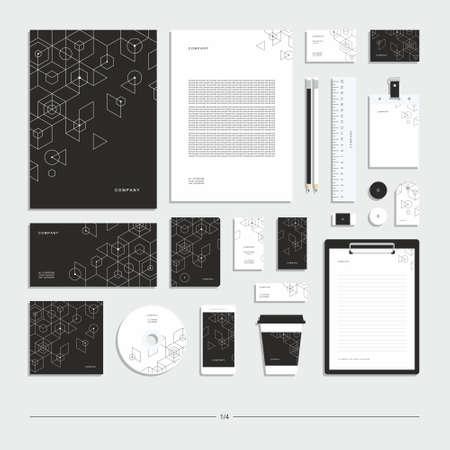 Illustration pour Abstract geometric technological corporate identity. Stationery set. Creative design. - image libre de droit