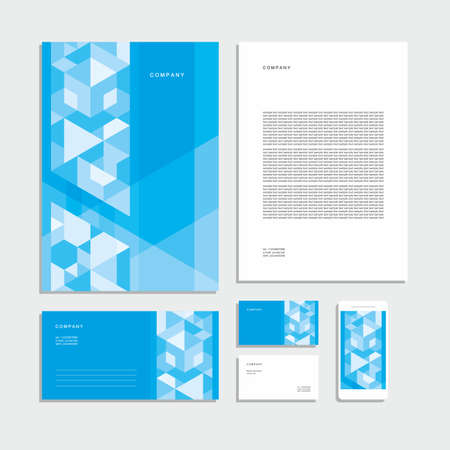 Illustration for Abstract geometric technological corporate identity. Stationery set. Creative design. - Royalty Free Image