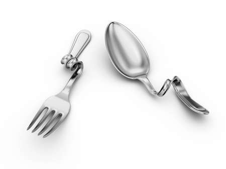silver bend spoon, fork on white