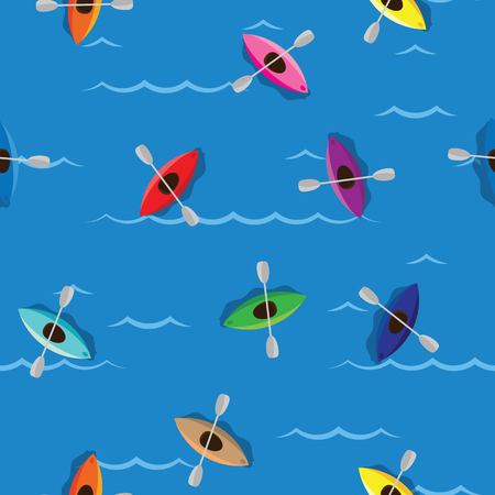Multicolored kayaks with paddlers on blue water background. Seamless pattern colored kayaks and paddlers for water sport on river or sea.