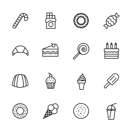 Photo pour Simple icon set confectionery, pastries and sweets. Contains such symbols lollipop, chocolate bar, candy, donut, croissant, birthday cake, cake slice, ice cream, milk cocktail. - image libre de droit