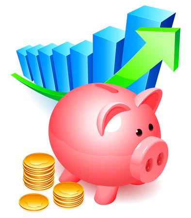 Illustration pour Piggy bank with golden coins and graph. - image libre de droit
