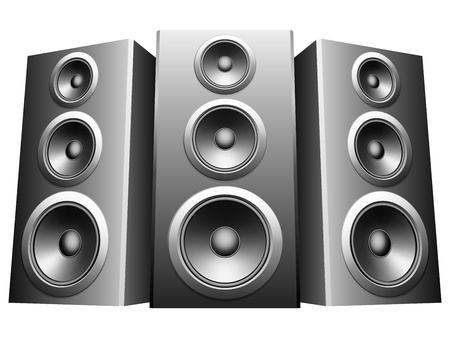 Three big speakers in a row.