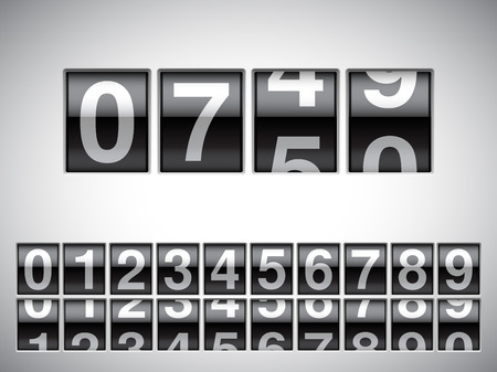 Counter with all numbers on white background.