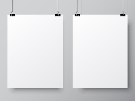 Illustration pour Two blank white paper lists hanging on pins. Poster mock-up template - image libre de droit