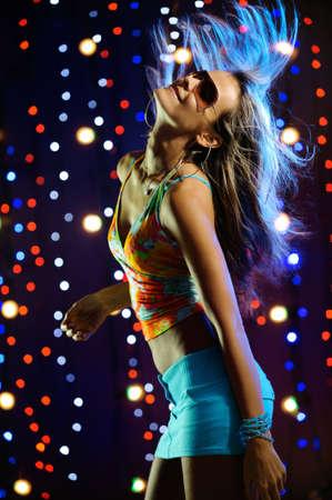Beautiful blond female dancing