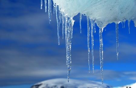 frozen ice in antarctica, blue sky