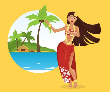 Illustration for Hawaiian hula dancer young pretty woman. Vector illustration - Royalty Free Image