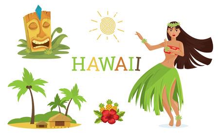 Illustration for Hawaiian elements set - Royalty Free Image