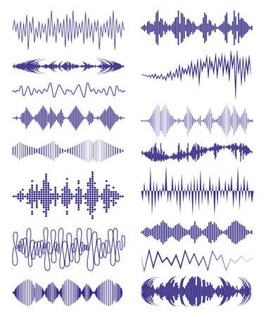 Illustration pour Big collection with music waves  and audio symbols. Modern sound equalizer elements set. Vector digital waveform technology template illustration. - image libre de droit