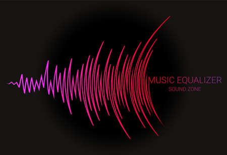 Illustration pour Music wave  . Color pulse audio player dynamic banner. Vector digital media waveform technology illustration. - image libre de droit