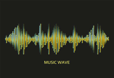 Illustration pour Modern neon music wave frequency logo. Digital audio technology. Stylized wave lines, design elements. Abstract vector colorful pulse equalizer background - image libre de droit