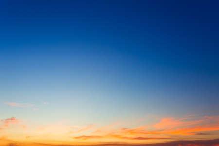 Foto de blue bright dramatic sunset sky in countryside or beach colorful cloudscape texture air background. - Imagen libre de derechos