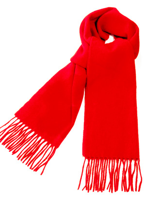 Photo pour Warm red scarf out of pure cashmere wool  isolated on white background. - image libre de droit