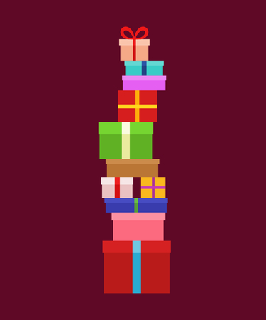 Stack of Christmas Boxes for gifts. Flat design.
