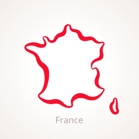 Ilustración de Outline map of France marked with red line. - Imagen libre de derechos