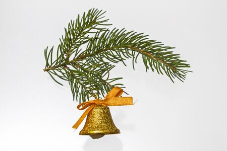 Christmas bells on green branch