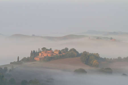Misty atmosphere in the Crete Senesi in early morning