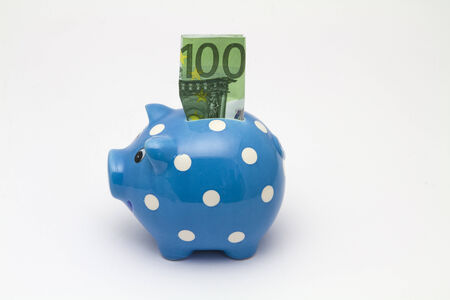 Blue piggy bank with hundred euro bill