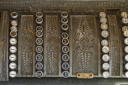 Old cash register, as they were used decades ago