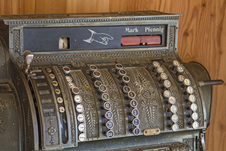 Old cash register, as which were used decades ago