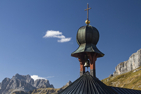 Mountain chapel detail on the pass of the Klausen Pass in the canton of Uri