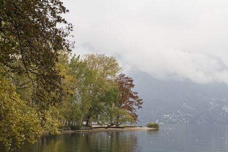 Autumn mood on the lakefront in Lugano