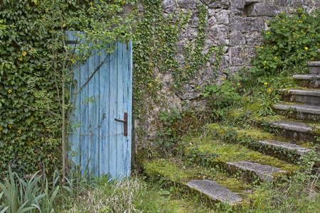 Abandoned house with an idyllic grassy stairs with blue door